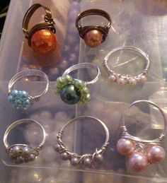 Wire wrapped pearl rings