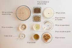 Todos los ingredientes que necesitas para hacer un pan de molde integral con semillas.