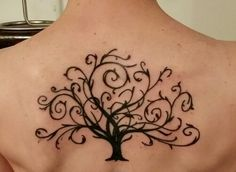 Tree calligraphy,  back tattoos,  women's tattoos