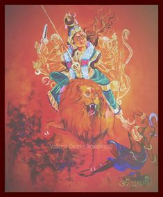 Indian Architecture, Durga Goddess, Sacred Art, Gods And Goddesses, Art Sketches, Lion Sculpture, Princess Zelda, Statue, Canvas