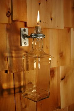 Upcycled Jack Daniels Bottle Indoor Oil Candle. $20.00, via Etsy.
