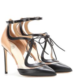 :: Francesca Russo Black and powder-pink leather pumps ::