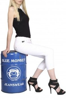 BLUE MONKEY Damen 7/8 Capri Jeans Cassy 3563 weiß