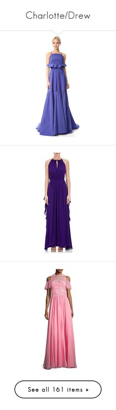 """Charlotte/Drew"" by ihatehomework ❤ liked on Polyvore featuring dresses, gowns, lapis, lela rose gowns, pocket dresses, ruffle gown, ruched gown, blue gown, purple and purple sleeveless dress"