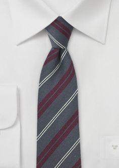 Krawatte schmal Seide Wolle dunkelgrau