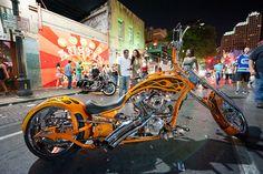 Motorcycle night in Austin Custom Choppers, Custom Motorcycles, Custom Bikes, Custom Trucks, Biker Rallies, Bike Events, Orange County Choppers, Bike Rally, Biker Love