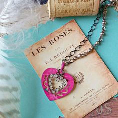 pair of hearts. shabby repurposed junk jewelry necklace, pink patina, rhinestones, silver chains, shabby chic, fab flea market by FabFleaMarket on Etsy