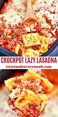 Crockpot meals 34128909665400731 - Slow Cooker Lazy Lasagna is such an easy meal, made with frozen ravioli, ground beef and tomato mixture and obviously lots of cheese. Source by sweetandsavorymeals Ground Beef Crockpot Recipes, Slow Cooker Ground Beef, Easy Healthy Recipes, Quick Easy Meals, Easy Dinner Recipes, Dinner Ideas, Lazy Lasagna, Slow Cooker Lasagna, Slow Cooker Easy Meals