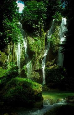 Mag-Aso Falls, hidden in the tropical forest of Bohol Island, Philippines