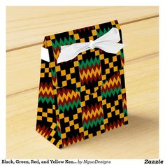 Black, Green, Red, and Yellow Kente Cloth Party Favor Box