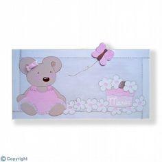 Cuadro infantil personalizado: Ratita y mariposa (ref. 19090-02)