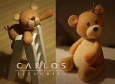 Little bears - Sugar art Cute Polymer Clay, Polymer Clay Animals, Polymer Clay Charms, Sugar Rush, Biscuit, Minis, Teddy Bear Cakes, Baby Boy Cakes, Fondant Toppers