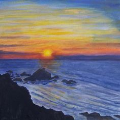 Sunset Sea Original Painting Canvas by MarisaOriginalArt on Etsy, £20.00