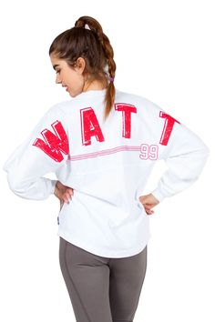 The only place to get an Authentic J.J. Watt, Women's Long Sleeve Crew-Neck - Tailgate Distressed NFL Players Spirit Jersey®