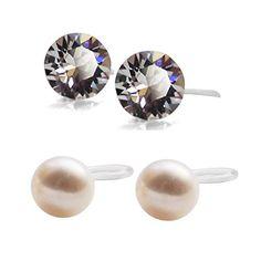 Clip On Earrings, Dangle Earrings, Pierced Earrings, Crystal Rhinestone, Swarovski Crystals, Ear Piercings, Fresh Water, Pearls, Purple