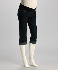 Take a look at this Dark Wash Under-Belly Maternity Capri Jeans - Women by Oh! Mamma on #zulily today!