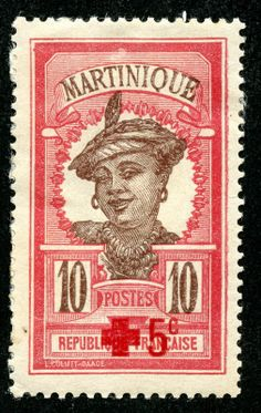 "République Française. Martinique Woman"" In 1908, a new extended series was introduced with Martinique portrait/pictorial designs. The first portrait showed a ""Martinique Woman"", rather chic, on 12 lower denomination stamps. Martinique, an island in the Lesser Antilles in the Caribbean Sea, has been an Overseas Department of France since 1946, but has been a French possession continuously since 1815."