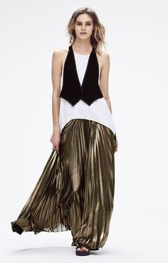 Marcele Color-Blocked Vest Top paired with the Dallin Pleated Metallic Maxi Skirt Tie Dye Skirt, Sequin Skirt, Metallic, Vest, Sequins, My Style, Skirts, Color, Tops