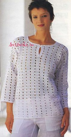 Elegant crochet Top. Diagram and schematic pattern at site