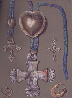French traditional jewellery - Estella Canziani 1 2 - crosses and hearts (slides) worn by the peasants of Saint Colomban des Villards. 3 - ear-rings from Tarantaise Finger Lights, Ear Rings, Traditional Dresses, Wristlets, Jewelery, Favorite Things, Craft Ideas, France, Culture