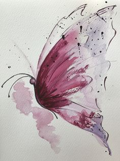 Von der Raupe zum Schmetterling From the caterpillar to the butterfly, Butterfly Painting, Butterfly Watercolor, Butterfly Art, Watercolor And Ink, Watercolour Painting, Painting & Drawing, Butterflies, Realistic Rose Drawing, Art Drawings