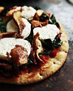 Mozzarella Chantrelle Mushroom and Kale Pizza on Pita Bread  (try with Burrata )