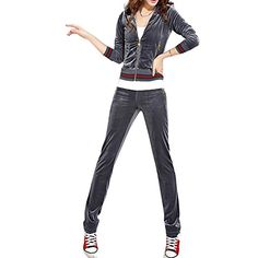 MNBS Women's Slim Fit Zip Up Striped Velour Tracksuit Running Jogging Set Large Grey