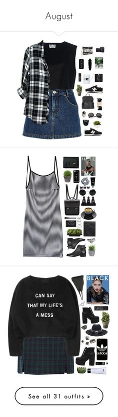 """""""August"""" by amy-lopezx ❤ liked on Polyvore featuring River Island, New Balance, Ava Catherside, Street Level, Nikon, HUF, Topshop, LG, Retrò and DOMESTIC"""