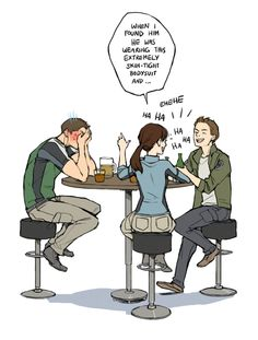 Chris Redfield, Jill Valentine, and Piers Nivans having a chat... More like Jill and Piers chatting while Chris sits by embarrassed because Jill's spilling his worst moments. Dammit Jill! Resident Evil