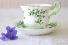 Vintage English Bone China Royal Albert Teacup and Saucer Shamrock Pattern Replacement China - c. 1960's - 1970's