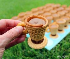 NO-BAKE, TEACUP TREATS Remember that scene in Willy Wonka and the Chocolate Factory where he drinks the tea and then eats the cup