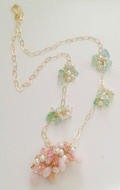 Pink necklace, rose quartz and opal necklace, pink jewerly, jewerly, joyas cuarzo rosa-joyeria-collar rosado