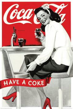 Coca-Cola ont un Coke publicité Vintage Art Poster