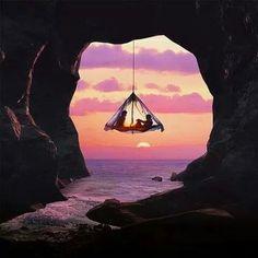 Tent swing sunset
