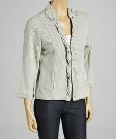 Another great find on #zulily! Natural & Black Ruffle Pinstripe Jacket #zulilyfinds