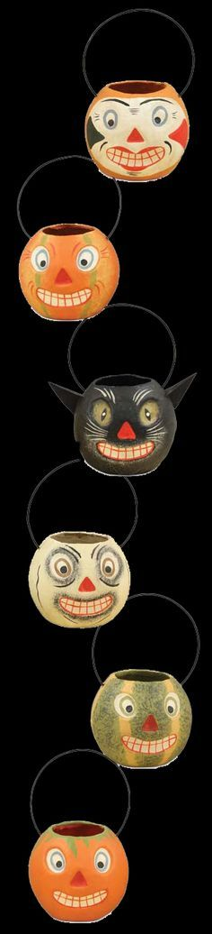 - Paper mache and wire. - 6 Assorted Halloween bucket designs. - These Halloween Buckets also make super cute Halloween Ornaments. - 2 x 2 1/4. Bethany Lowe Halloween. - Imported.