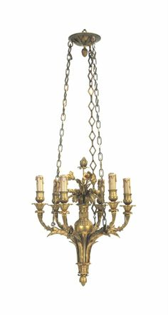 A FRENCH ORMOLU SIX-LIGHT CHANDELIER SECOND HALF 19TH CENTURY