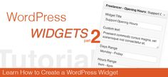 How to create a Widget Plugin for WordPress - Part 2