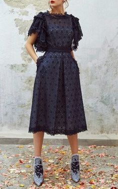 Eyelet Ruffled Top and Midi Skirt by Luisa Beccaria