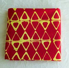 Kayak Hand Dyed and Patterned Cotton Fabric/ Yellow and Red by stitchindye on Etsy