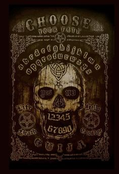 Actual size of graphic is 16 x 10 Vintage style skull & ouija board poster. Artist Marcus Jones Put your life in the hands of the ouija board and let the spirits show you your future.