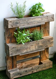 tip 3 - consider what you are making: Keep in mind what you are using the pallets for? A good suggestion is to avoid using them for food prep surfaces.  Want a fabulous place to grow your herbs this summer? Learn how to make this awesome wood pallet herb planter at Maikin Mokomin. Heads up, this site is in Finnish. Try putting the text into Google translate to learn more about this project.