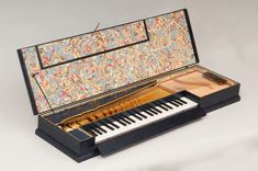 Clavichord built by the restoration workshop of the musical instruments of the Kunsthistorisches Museum Wien in Austria for the musician Eugène Michelangeli. Marbled paper by Flavio Aquilina, Italy. Photographer: Jens Lindworsky. www.eugenemichelangeli.com