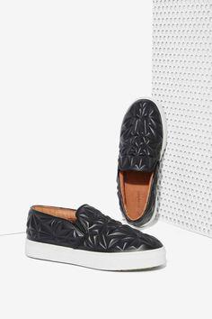 Jeffrey Campbell Sarlo 3D Leather Slip-On Sneaker - Shoes | Flats | Slip On | Jeffrey Campbell
