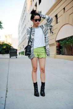 @roressclothes closet ideas #women fashion Green Lacey Shorts
