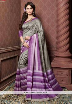 Voguish Violet And Grey Printed Party Wear Saree
