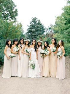 Champagne colored bridesmaids looks that we love. #bridesmaids #dresses #weddingchicks Design By: Mark Christopher Weddings ---> http://www.markchristopherweddings.com/