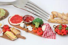 Vegetarian Pizza Preparation - PetitPlat, Miniature Food Art Polymer Clay, Dollhouse
