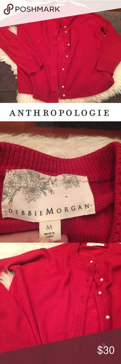 Anthropologie Debbie Morgan Red Woven Trim Sweater Anthropologie Debbie Morgan Red Woven Trim Sweater. 20 inch bust. Button up. Some light piling on the front. 24 inches long. Gently worn. Great condition. Feel free to make an offer or bundle & save! Anthropologie Sweaters Cardigans