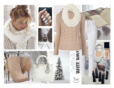 """""""White and Beige Winter White Denim"""" by rikaaglich ❤ liked on Polyvore featuring MaxMara, GUESS by Marciano, Michael Antonio, Christian Dior, Bobbi Brown Cosmetics and winterwhite"""